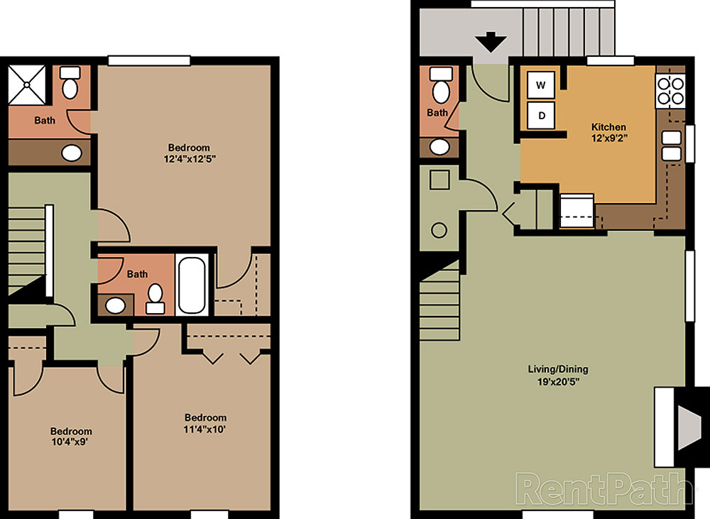Hickory hills apartments townhomes floor plans for Townhome floor plan designs